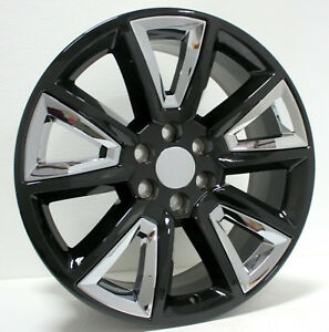 Chevy Silverado 1500 Tahoe Suburban 20 Wheels Black With Chrome Rims 2000 2018