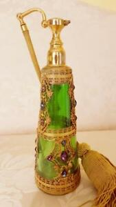 Rare Antique Jeweled E J B Empire Art Gold Green Glass Perfume Bottle Atomizer