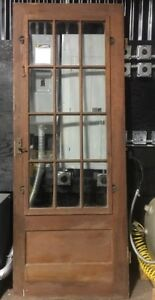 32x83 Antique Vintage 12 Pane Glass Wooden Door W Original Hardware
