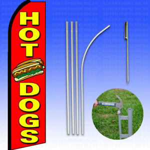 Feather Flag Swooper Advertising Flag Banner Sign 15 Tall Kit Hot Dogs