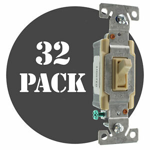 Hubbell Rs115ilcz Lighted Toggle Switch 1 pole 15a 120v Ivory 32 pack