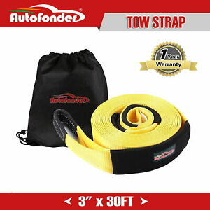 30ft 3 30000lbs Towing Strap Recovery Tow Strap Winch Extension 4wd Heavy Duty
