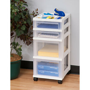 4 drawer Cart With Organizer Top Storage White Rolling New