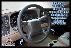 1999 2002 Chevy Silverado 1500 2500 3500 Leather Steering Wheel Cover Black