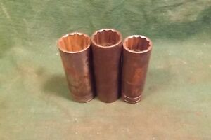 3 Pc Vintage Snap On 1 2 Drive Sae 12 Point Deep Socket 1 7 8 13 16 Used