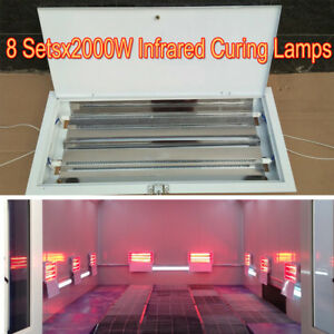 8 Sets 2kw Spray Baking Booth Infrared Paint Curing Lamps Heaters Heating Lights