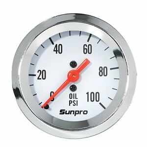 Sunpro Cp8206 Styleline Mechanical Oil Pressure Gauge White Dial