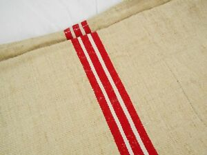 Vtg Antique Red White Stripe French Hemp Linen Feed Sack Grain Bag 19x52