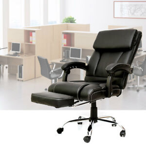 New Pu Leather Swivel Office Chair Recliner Computer Seat W Headrest Footrest