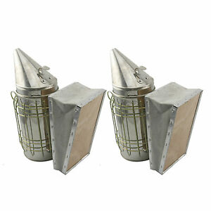 Set Of 2 Bee Hive Smoker Stainless Steel W Heat Shield Beekeeping Equipment Sw1