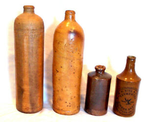 Lot Of 4 Antique Stoneware Bottles Beer Ink Gin Selters
