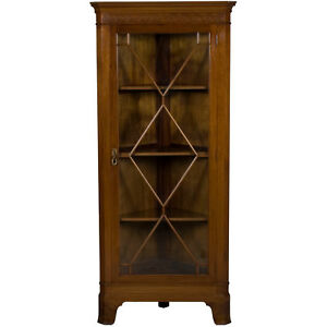 Antique Style English Mahogany Single Door Corner Cabinet Cupboard Hutch Display