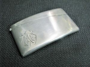 Late 19th Century Sterling Silver Curved Card Case With Gold Washed Interior