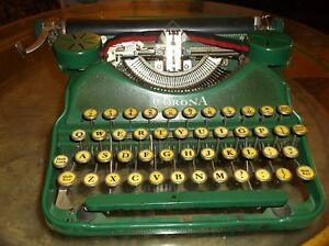 Antique Vintage Rare Green1920s Corona Manual Typewriter Serviced