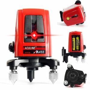 Ak455 360 Degree Self leveling Cross Laser Level 2v1h 5mw Red 3 Line 3 Point
