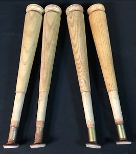 Vtg Mid Century Tapered Wood Reclaimed Salvaged Table Leg Set Lot Of 4
