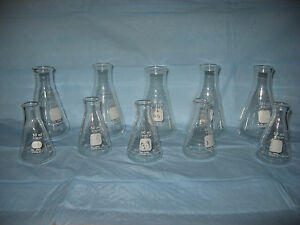 Pyrex Graduated Erlenmeyer Flasks five 50ml Five 125ml