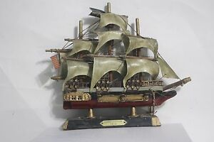Vintage Uss Constitution 1814 Model Ship Wooden