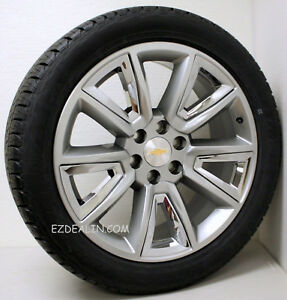22 Chevy Silverado Tahoe Suburban Z71 Hyper Silver And Chrome Wheels Rims Tires