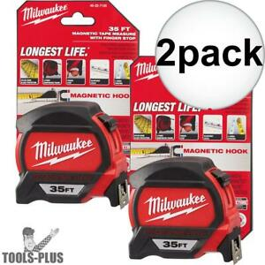 Milwaukee 48 22 7135 2 2x 35 Magnetic Tape Measure New