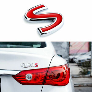 3d Chrome Red S Letter Emblem Trunk Lid Fender Decal Badge For Infiniti Q50 Q60