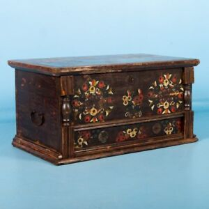 Antique Hungarian Trunk With Flowers And Original Brown Red And Yellow Paint