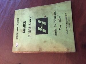 Huber Grader F 1000 Tractor Maintenance Manual