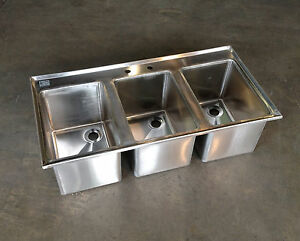 3 Compartment Stainless Steel Commercial Drop In Sink