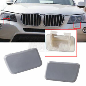 Pair Side Headlight Washer Nozzle Cover Primed For Bmw X3 E83 2004 2010