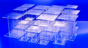 16 Lot Clear Acrylic Pedestal Display Risers Mixed Sizes 5 5x5 5x8 To 4x4x5