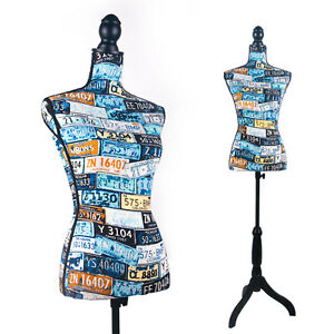 Female Mannequin Torso Dress Form on Black Tripod Stand