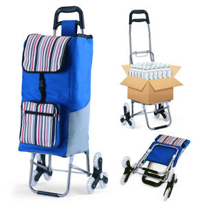 Folding Shopping Cart Grocery Utility Cart Stair Climbing Trolley Dolly Larger