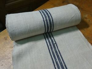 A Homespun Linen Hemp Flax Yardage 16 Yards X 19 Blue Stripes 9605