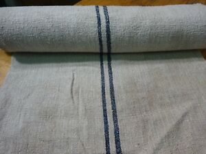 A Homespun Linen Hemp Flax Yardage 7 Yards X 23 Blue Stripes 9609