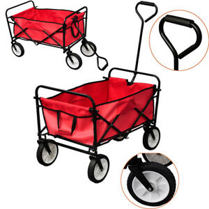 Foldable Hand Truck Utility Garden Wagon Trolley Cart Camp Beach Toy Buggy Red