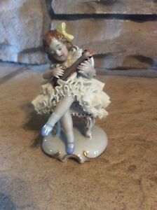 Antique Dresden Sitzendorf Girl Playing Lute Porcelain Figurine Germany Rare