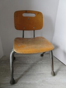 Old Mid Century Modern Eames Era Bent Plywood Steel Childs Chair Brunswick