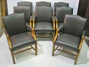 8 High End Taylor Co Chippendale Armchairs Brown Leather Upholstery Nailheads