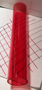 2 Red Clear Acrylic Plexiglass Lucite Plastic Tube 72 Inches Long