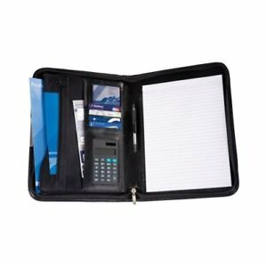 Cescahide A4 Deluxe Zipped Bonded Leather Conference Folder With Calculator And