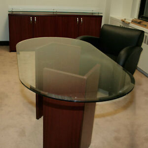 5ft 8ft Glass Conference Table Office Meeting Room Modern Contemporary Wood