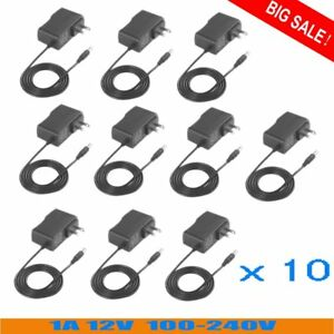 10 Pcs Black Ac To Dc 12v 1a Ac dc Converter Power Supply Charger Adapter Vp