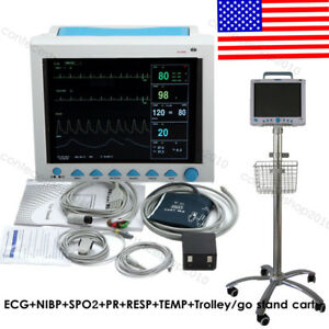 Multi parameter Icu Vital Sign Patient Monitor 7 Parameters With Trolley Cart