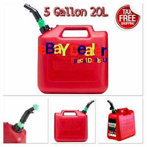 Jerry Can 5 Gallon 20l Gas Fuel Army Military Plastic Auto Shut off W Spout Red