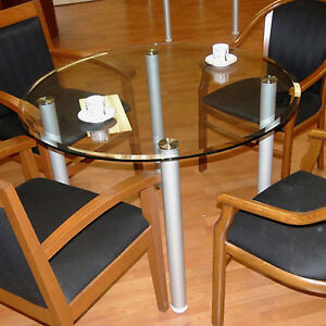 Round Glass Conference Table Designer Modern Office With Metal Legs 42 Or 48