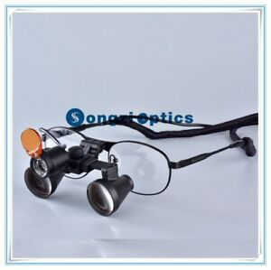 2 5x Titanium Frame Binocular Dental Surgical Loupes With Yellow Filter Light