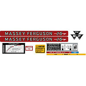 Massey Ferguson Mf 25 Complete Tractor Decal Kit
