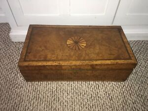 Antique English Lap Desk Burl Wood And Inlay Brass Hardware Ca 1820