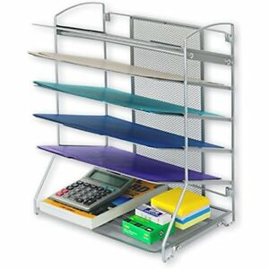 Simplehouseware Racks Displays Trays Desktop Document Letter Organizer Silver
