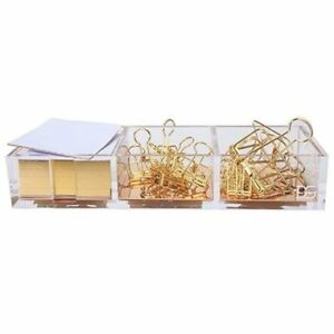 Clarity Gold Paper Clip Holders Notes With Cube Memo Pad 320 Sheets Acrylic In